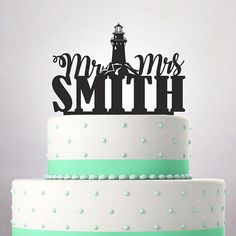 Wedding Cake Topper Mr And Mrs Surname Funny Young Couple Heart Naval Lighthouse Tattoo Old School