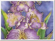 Purple Orchid Batik on Silk