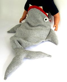 I die! Anyone want to make this for me??        Baby Shark Sleeping Bag - Handmade Knitted Baby Costume, 0-12mths. £94.00, via Etsy.