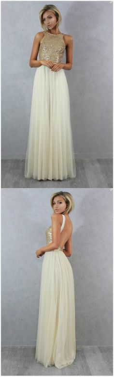 $64.88--Champagne Gold Sequin Bridesmaid Dresses Cheap Long Party Dress