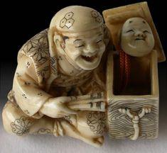 Antique Japanese Netsuke  Happy Man Opening Charm Box  Netsuke Signature: Shofu. Circa: 1920S'