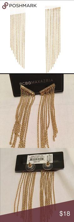 BCBG Pave Chain Fringe Earrings Beautiful gold Pave chain earrings. BCBGMaxAzria Jewelry Earrings