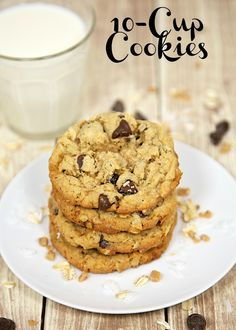 10-Cup Cookies - peanut butter, oatmeal, toffee bits, nuts, chocolate chips - makes a ton of cookies. Great for a crowd/party.