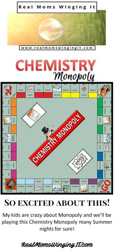 We are SO excited about this FREE Chemistry Monopoly Board Game! Kids will play the game and learn about different Elements and so much more! See full instructions on how to make one here! Chemistry Classroom, High School Chemistry, Chemistry Lessons, Teaching Chemistry, Chemistry Experiments, Science Chemistry, Middle School Science, Physical Science, Science Lessons