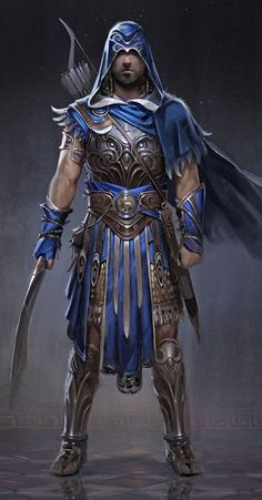 View an image titled 'Blue Armor Concept Art' in our Assassin's Creed Odyssey art gallery featuring official character designs, concept art, and promo pictures. Fantasy Character Design, Character Concept, Character Inspiration, Character Art, Arte Assassins Creed, Assassins Creed Odyssey, Fantasy Warrior, Final Fantasy, Dungeons And Dragons Characters