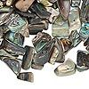 Bead, paua shell (natural), medium chip, Mohs hardness 3-1/2. Sold per 100-gram pkg, approximately 400-600 beads.