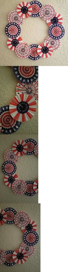 Wreaths 16498: Patriotic Paper Fan Wreath - Hand-Crafted - Red, White And Blue -> BUY IT NOW ONLY: $30 on eBay!