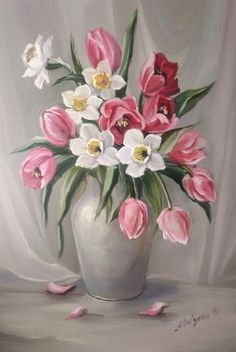 Do in peach and grey Acrylic Painting Flowers, Acrylic Painting Lessons, Acrylic Art, Fabric Painting, Pictures To Paint, Art Pictures, Flower Vases, Flower Art, Illustration Blume
