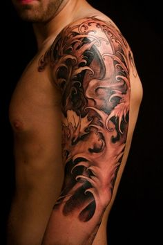 Japanese style waves half sleeve