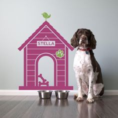 Dog House Wall Decal Dogs Name Sign Size Medium by graphicspaces, $40.00