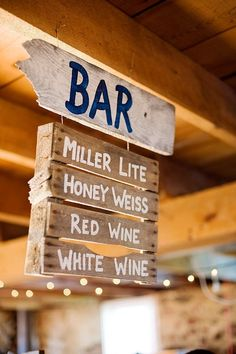 "DIY Painted Pallet Bar Menu Sign. Not necessarily for Silent Auction but Instead what about a longer ""SALOON"" sign at the bar.?"