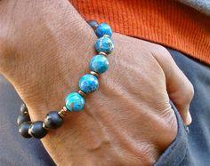 Bracelet pour homme spirituel guérison Protection, bonne Fortune, l'équilibre Bracelet - Semi précieuse Onyx, jaspe impérial, hématites, homme Bohème