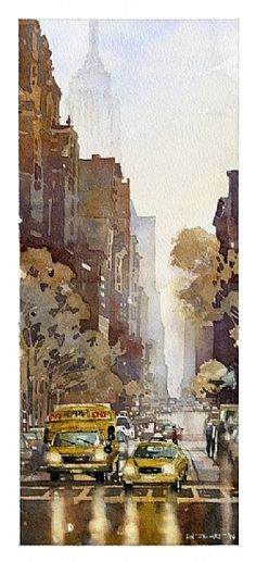 Ave from Washington Square Park by Iain Stewart, Watercolor, 17 x Watercolor City, Watercolor Artists, Watercolor Landscape, Watercolor Paintings, Gouache Painting, Watercolours, Painting Trees, Art Et Architecture, Watercolor Architecture