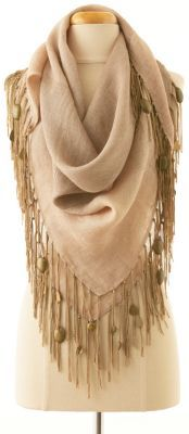 Gypsy Scarf - Hand-loomed,  Natural Fringe, Bronze Pailettes | Soft Surroundings