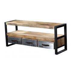 Meuble TV en bois et métal CHROME