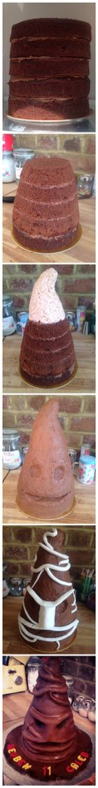 Harry Potter sorting hat cake step by step. Tutorial from That Cake Girl's facebook page.