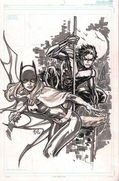 Nightwing and Batgirl by Ken Lashley