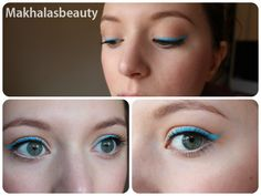 Bright Blue Eyeliner for a simple look
