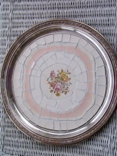 Vintage Silver Plate Mosaic Tray