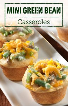 Mini Green Bean Casseroles are a fun way to enjoy a classic dish. We love it! Make this cute and tasty recipe as a holiday appetizer!
