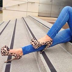 Zapatillas tacón animal print