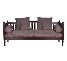 Daybed Wooden Slatted With Cushions