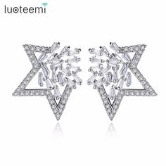 LUOTEEMI Silver Color Stud Earrings for Women Clear Round Strip Cubic Zirconia Triangle Star Shape Brincos Friend Christmas Gift $19.99   #streetstyle #dress #instalike #styles #shopping #model #iwant #beautiful #beauty #fashion #fashionista #stylish #love #swag #pretty
