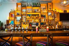 The colorful bar at Horchata, New York.