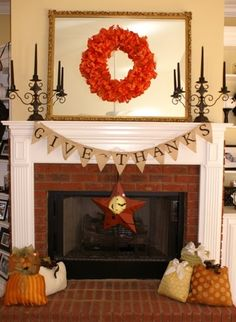 fireplace with thanskgiving wreath | Simple Thanksgiving fireplace! Nice! #gratitude