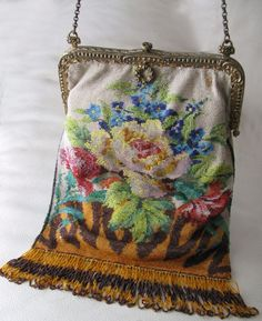 Antique Victorian Amber Floral Crochet Floral French Micro Bead Purse GERMANY #EveningBag