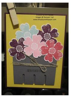 stampin Up Berry Basket die card with the Mixed Bunch flowers stamp set and blossom punch