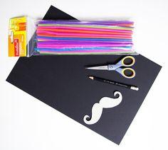 Schnurrbart Moustache Vorlage Schablone Strohhalm Strohhalme basteln Party-Gag Anleitung DIY kostenlos Material