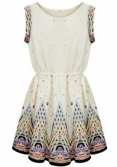Ivory Round Neck Sleeveless Embroidery Dress
