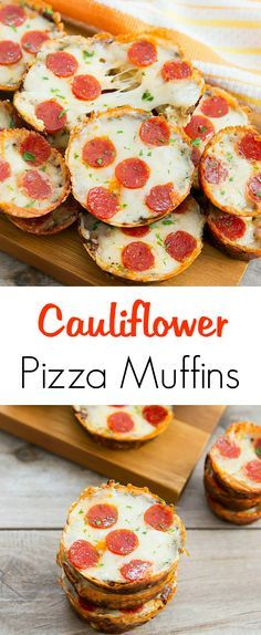 Cauliflower Pizza Muffins. Low carb, flourless and no need to wring dry the cauliflower!