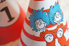 Thing 1 & Thing 2 Dr. Suess Birthday Party Hats - PERSONALIZED - Print Your Own