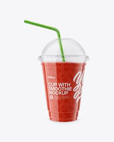 Watermelon Smoothie Cup with Straw Mockup. Present your design on this mockup. Simple to change the color of different parts and add your design. Includes special layers and smart objects for your creative works. #clear #cup #fruit #juice #mockup #packaging #plastic #smoothie #straw #watermelon