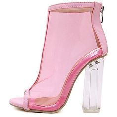 Pink Clear Peep Toe Lucited Chunky High Heel Ankle Booties When you want that extra touch for your special day, the lucited heel ankle booties come through wit…