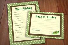 PEA POD Advice Cards for Baby Shower Printable by PrintasticDesign, $5.00