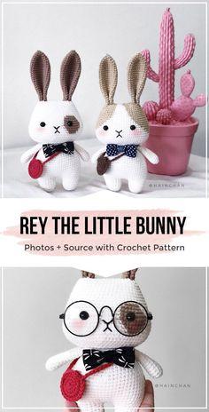Crochet Projects crochet Rey The Little Bunny pattern - easy crochet amigurumi pattern for beginners Crochet Easter, Crochet Bunny Pattern, Crochet Patterns Amigurumi, Cute Crochet, Crochet Dolls, Cat Pattern, Easy Knitting Projects, Crochet Projects, Knitted Teddy Bear