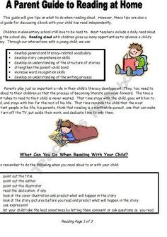 Elementary Math, Reading, & Writing Parent Handouts