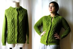 Retro knit sweater in olive green by Alfredo by TheCollectedLife, $34.00