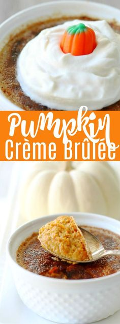 This Pumpkin Crème Brûlée is an upscale dessert that is actually very simple to make at home. Serve it as a fun and delicious alternative to pumpkin pie. Pumpkin Recipes, Fall Recipes, Holiday Recipes, Best Dessert Recipes, Easy Desserts, Flan, Pumpkin Creme Brulee, Cream Brulee, Mousse