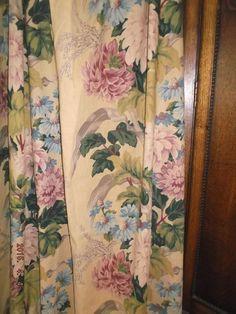 SALE~Vintage tea stained peony floral drape panel barkcloth era 1930's~Stunning!