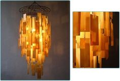 Century Chandelier--take scraps of stained glass which I have tons of...or plastic, acetate, wax paper, onion skin paper, etc, punch and thread together, hang from lamp kit bulb.  this might be cool with torn scrappy bits of cellophane wrap clear or colored and would look like a jellyfish or something ethereal.