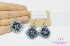 Blue Earrings Necklace Jewelry Set Pearl Dangle by BetweenBeads