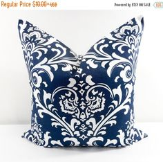 Hey, I found this really awesome Etsy listing at https://www.etsy.com/listing/241392251/on-sale-damask-pillow-blue-pillow-cover