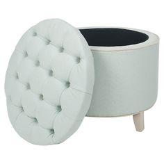 Soft mint storage ottoman