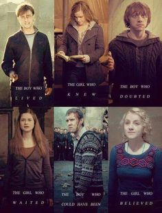 Harry Potter, Hermione Granger, Ron Weasley, Ginny Weasley, Neville Longbottom, and (my favorite!) Luna Lovegood