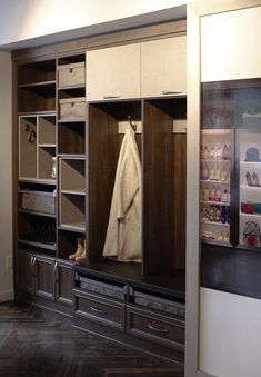 Essentials for a great mudroom design include; bench, hooks, shoe, and seasonal storage. California Closets, Entryway Storage, Cubbies, Open Shelving, Mudroom, Storage Ideas, Living Area, Hooks, Bench