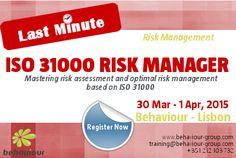 LAST MINUTE registration for ISO 31000 Risk Manager course.